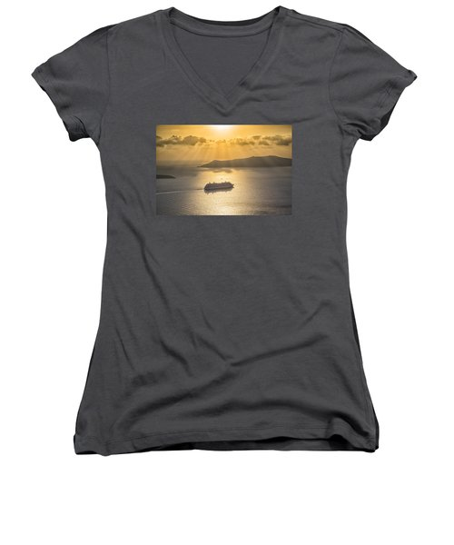 Cruise Ship In Greece Women's V-Neck (Athletic Fit)