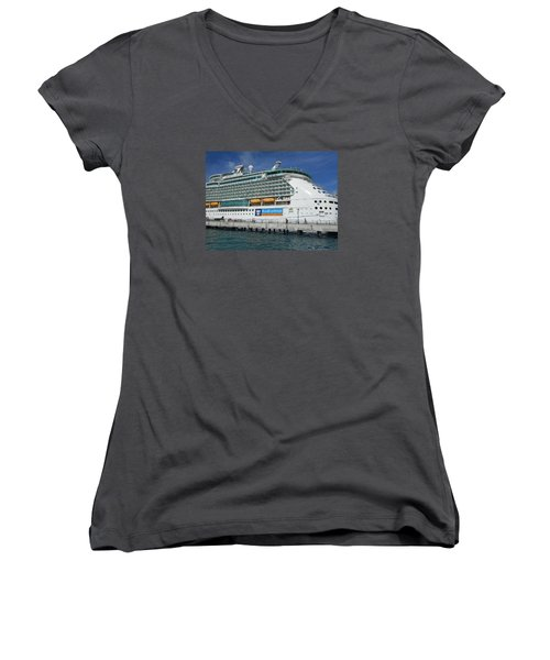 Cruise Ship Women's V-Neck T-Shirt (Junior Cut) by Kathleen Peck