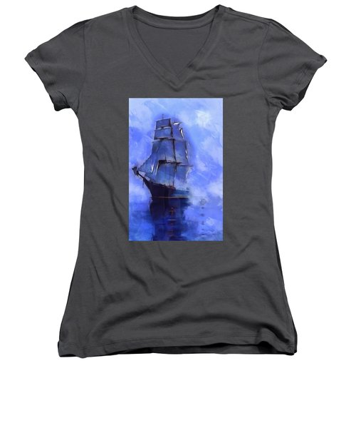 Cruising The Open Seas Women's V-Neck