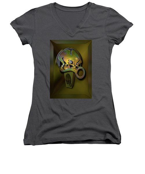 Women's V-Neck T-Shirt (Junior Cut) featuring the digital art Crushing Affinity by Steve Sperry