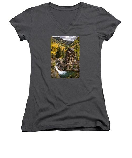 Crystal Autumn Women's V-Neck T-Shirt (Junior Cut) by Bjorn Burton