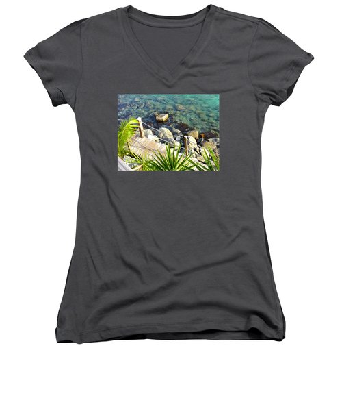 Crystal Clear Women's V-Neck T-Shirt (Junior Cut) by Beth Saffer