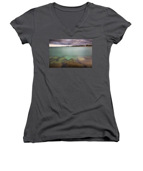 Women's V-Neck T-Shirt (Junior Cut) featuring the photograph Crystal Clear Lake Michigan Waters by Adam Romanowicz