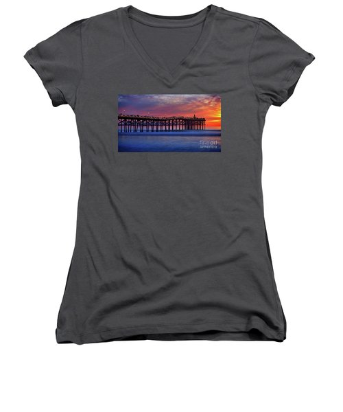 Crystal Pier In Pacific Beach Decorated With Christmas Lights Women's V-Neck