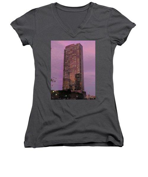 Crystal Skyscraper Sunset Women's V-Neck T-Shirt