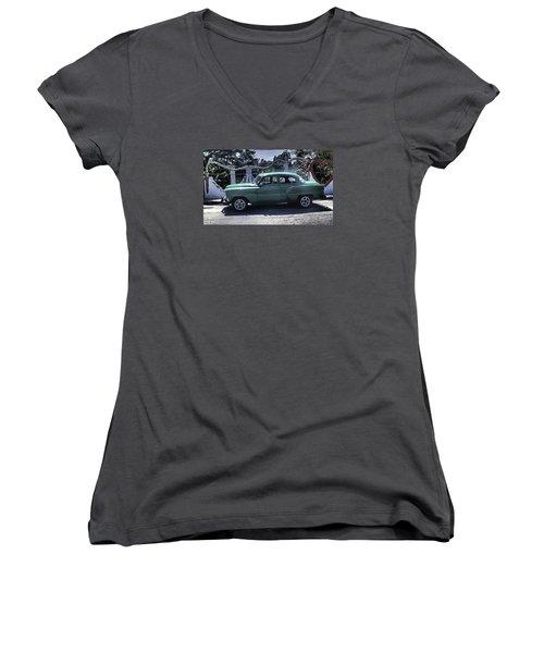 Cuba Car 8 Women's V-Neck T-Shirt (Junior Cut) by Will Burlingham