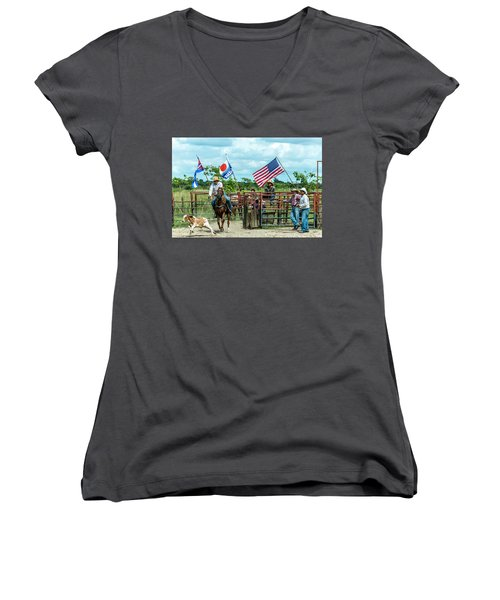 Cuban Cowboys Women's V-Neck (Athletic Fit)