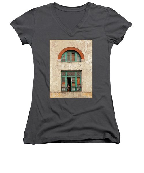 Women's V-Neck T-Shirt (Junior Cut) featuring the photograph Cuban Woman On San Pedro Balcony Havana Cuba by Charles Harden