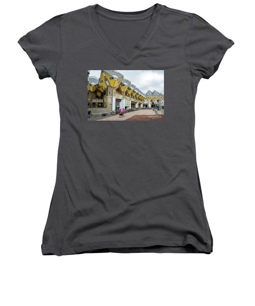 Women's V-Neck T-Shirt (Junior Cut) featuring the photograph Cube Houses In Rotterdam by RicardMN Photography