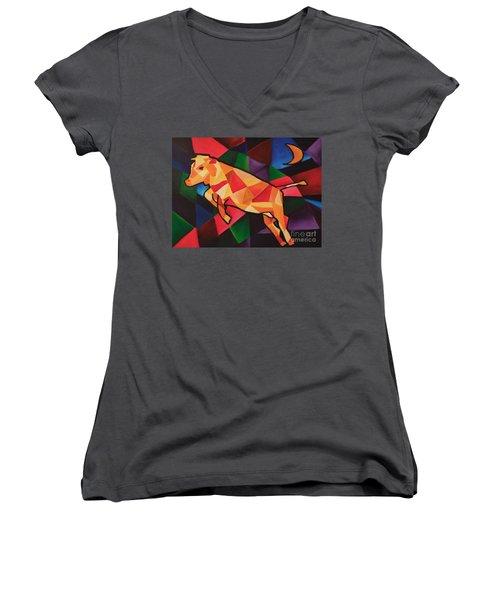 Cubism Cow Women's V-Neck T-Shirt
