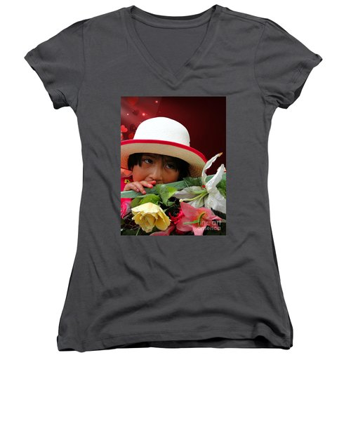 Women's V-Neck T-Shirt (Junior Cut) featuring the photograph Cuenca Kids 887 by Al Bourassa