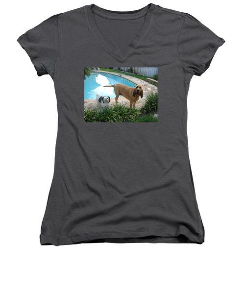 Cujo And Lucky Women's V-Neck T-Shirt (Junior Cut) by Val Oconnor