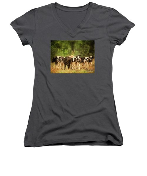 Women's V-Neck T-Shirt featuring the digital art Curious Cows by Lois Bryan