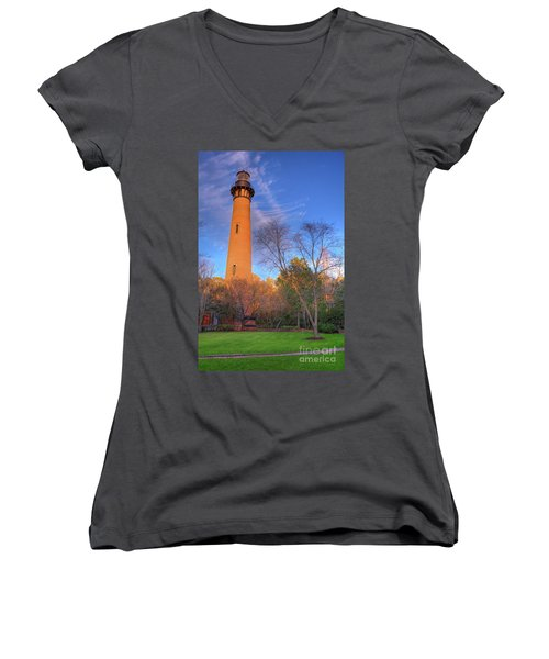 Currituck Lighthouse In Winter Outer Banks Women's V-Neck T-Shirt (Junior Cut) by Dan Carmichael
