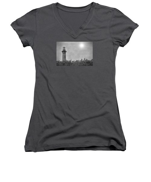 Women's V-Neck T-Shirt (Junior Cut) featuring the photograph Currituck Lighthouse by Marion Johnson