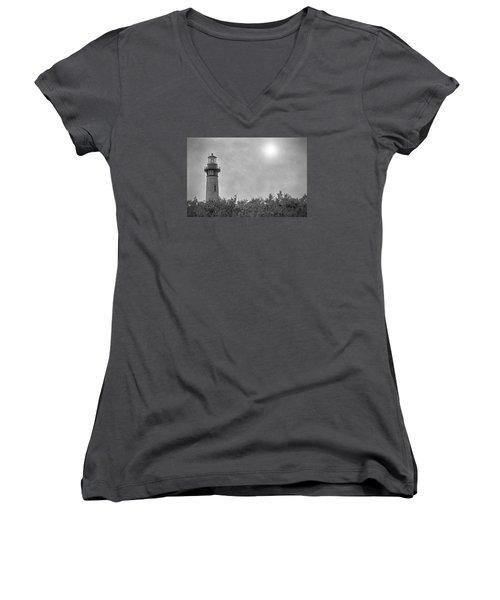 Currituck Lighthouse Women's V-Neck T-Shirt (Junior Cut) by Marion Johnson