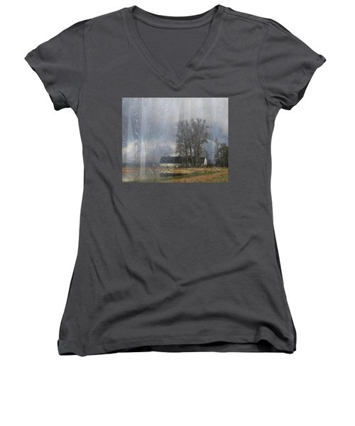 Curtains Of The Mind Women's V-Neck T-Shirt (Junior Cut) by I'ina Van Lawick