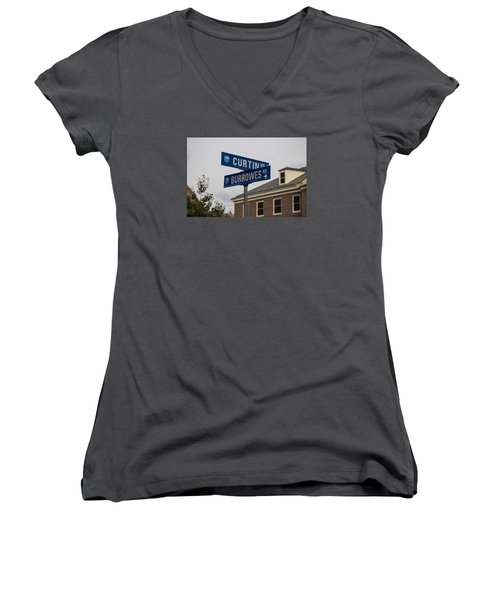 Curtin And Burrowes Penn State  Women's V-Neck T-Shirt (Junior Cut) by John McGraw