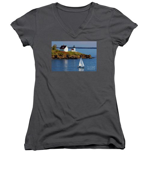 Curtis Island Lighthouse - D002652b Women's V-Neck (Athletic Fit)