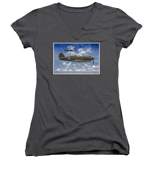 Curtis P-40 Warhawks Women's V-Neck T-Shirt (Junior Cut) by Kai Saarto