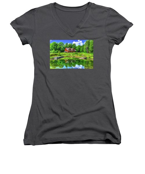 Curtis Vance Memorial Apple Orchard Women's V-Neck T-Shirt (Junior Cut) by Jim Boardman