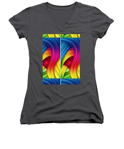 Curved Abstract Women's V-Neck (Athletic Fit)