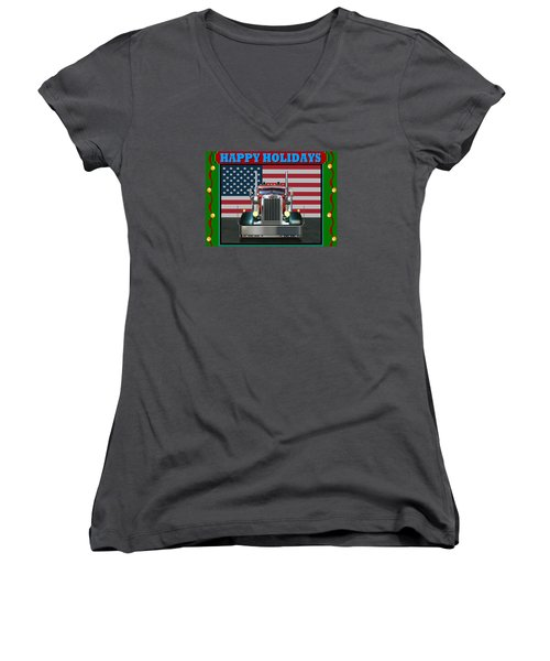 Custom Pete Happy Holidays Women's V-Neck T-Shirt (Junior Cut) by Stuart Swartz