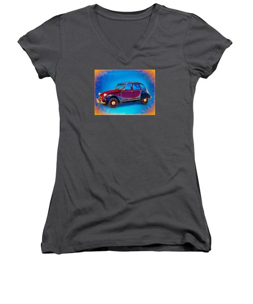 Cute Little Car Women's V-Neck