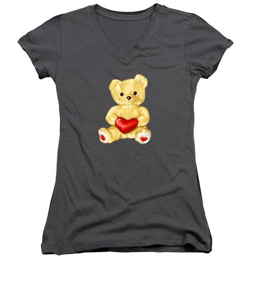 Cute Teddy Bear Hypnotist Women's V-Neck T-Shirt (Junior Cut) by Boriana Giormova