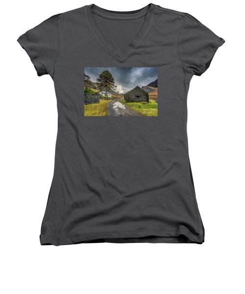 Women's V-Neck T-Shirt (Junior Cut) featuring the photograph Cwmorthin Slate Ruins by Adrian Evans