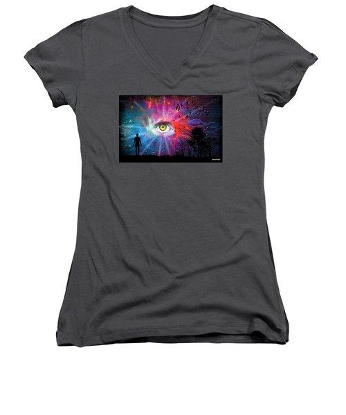 Cyber Sky Women's V-Neck T-Shirt (Junior Cut) by Paulo Zerbato