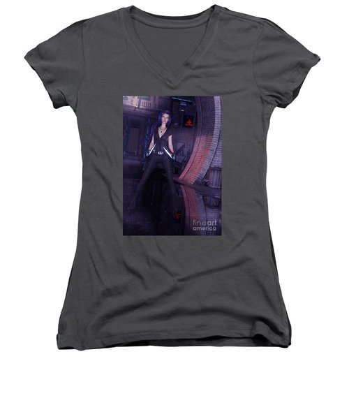 Cyberpunk Assassin Women's V-Neck (Athletic Fit)
