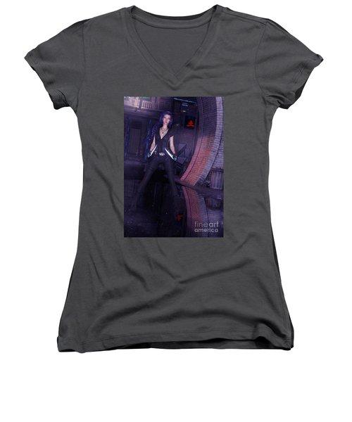 Cyberpunk Assassin Women's V-Neck T-Shirt