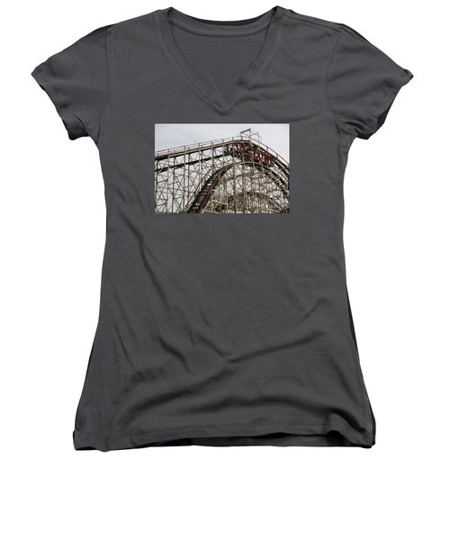 Cyclone Roller Coaster Coney Island Ny Women's V-Neck (Athletic Fit)