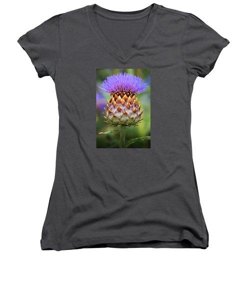 Cynara Cardunculus. Women's V-Neck T-Shirt (Junior Cut) by Terence Davis