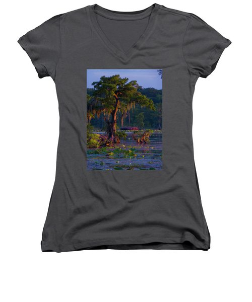 Cypress In The Sunset Women's V-Neck T-Shirt