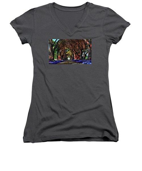 Cypress Tree Tunnel Women's V-Neck T-Shirt (Junior Cut) by Jason Abando
