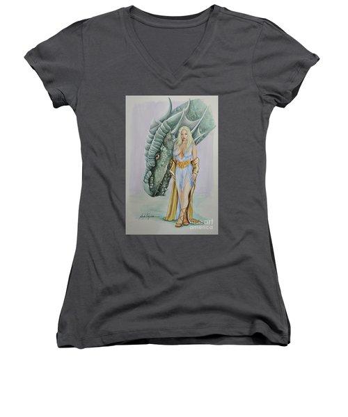 Daenerys Targaryen - Game Of Thrones Women's V-Neck T-Shirt (Junior Cut)