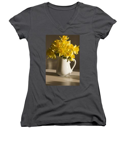 Daffodil Filled Jug Women's V-Neck T-Shirt (Junior Cut) by Sandra Foster