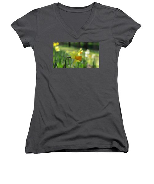 Daffodil Side Profile Women's V-Neck (Athletic Fit)