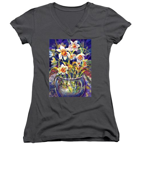 Daffodils And Lace Women's V-Neck (Athletic Fit)
