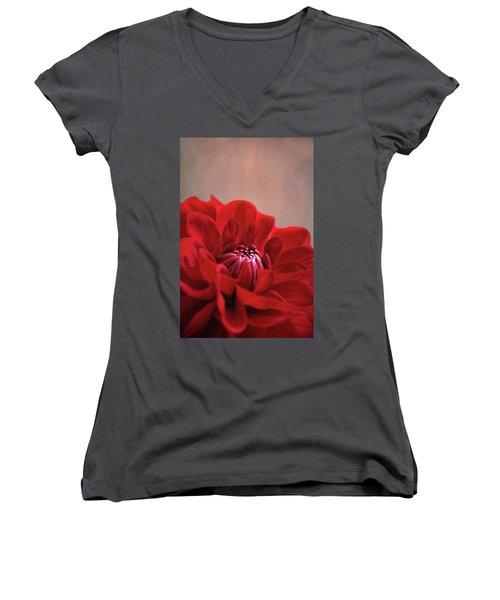 Women's V-Neck T-Shirt (Junior Cut) featuring the photograph Dahlia Dalliance  by Marion Cullen