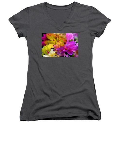 Women's V-Neck T-Shirt featuring the digital art Dahlia Fantasy by Hanne Lore Koehler