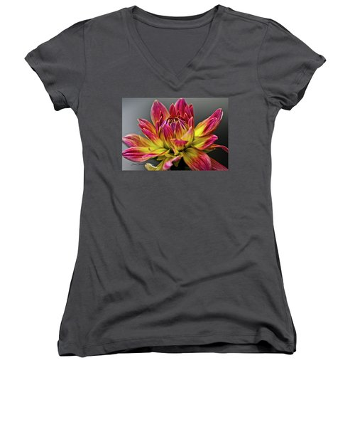 Women's V-Neck T-Shirt (Junior Cut) featuring the photograph Dahlia Flame by Joann Copeland-Paul