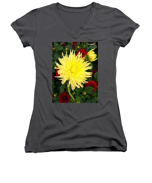 Dahlia's Women's V-Neck T-Shirt (Junior Cut) by Sharon Duguay