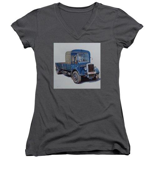 Women's V-Neck T-Shirt (Junior Cut) featuring the painting Daimler Wrecker Btc by Mike Jeffries