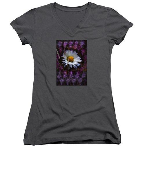 Dainty Daisy Women's V-Neck T-Shirt (Junior Cut) by Adria Trail