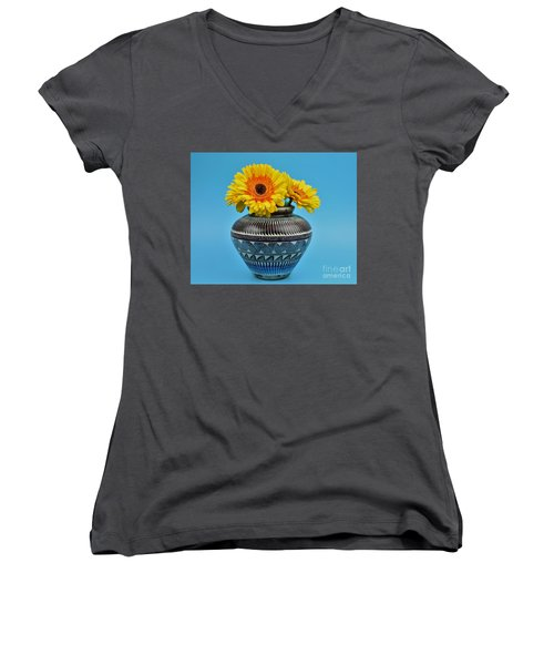 Daisies Displayed In Navajo Native American Vase Women's V-Neck T-Shirt
