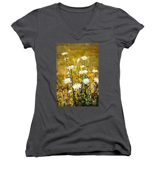 Women's V-Neck T-Shirt (Junior Cut) featuring the photograph Daisy Field by Donna Bentley