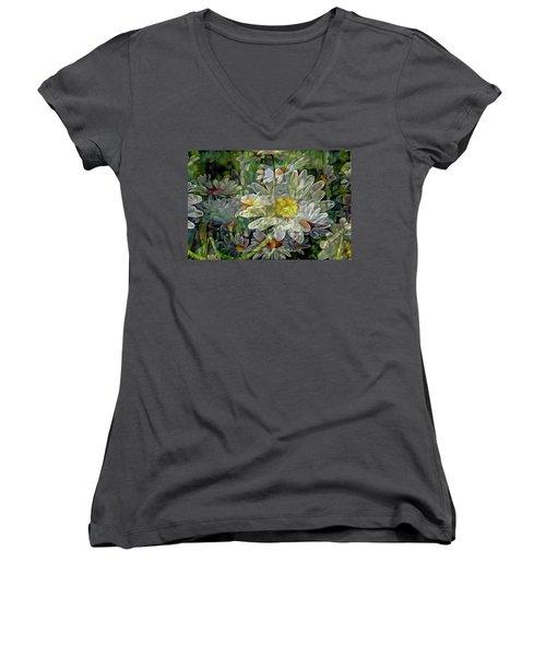 Daisy Mystique 8 Women's V-Neck T-Shirt (Junior Cut) by Lynda Lehmann
